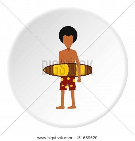 Surfer man icon. Flat illustration of surfer man vector icon for web design