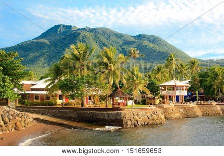 Volcano of mountain tropical island and resort Philippine paradise. Camiguin