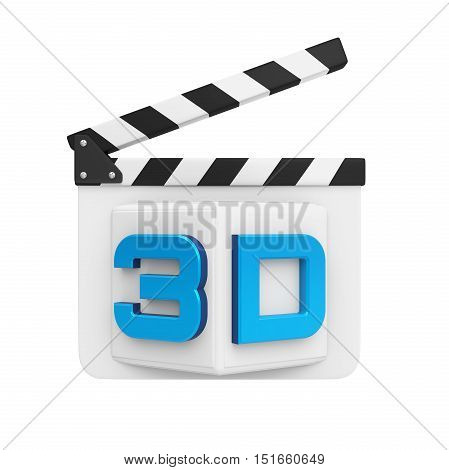 3D Text and Clapper Board isolated on white background. 3D render