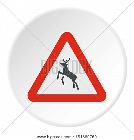 Sign caution deer icon. Flat illustration of sign caution deer vector icon for web