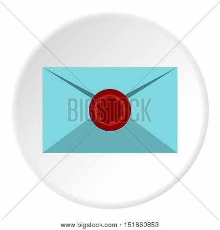 Letter with sealing wax icon. Flat illustration of letter with sealing wax vector icon for web