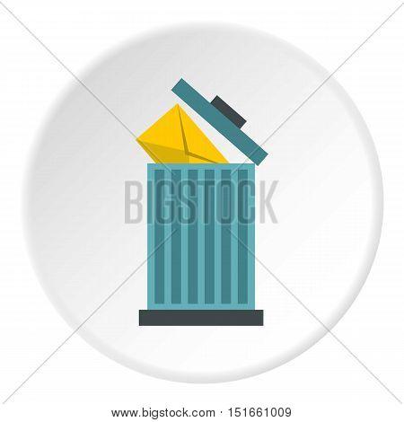 Delete letter in basket icon. Flat illustration of delete letter in basket vector icon for web
