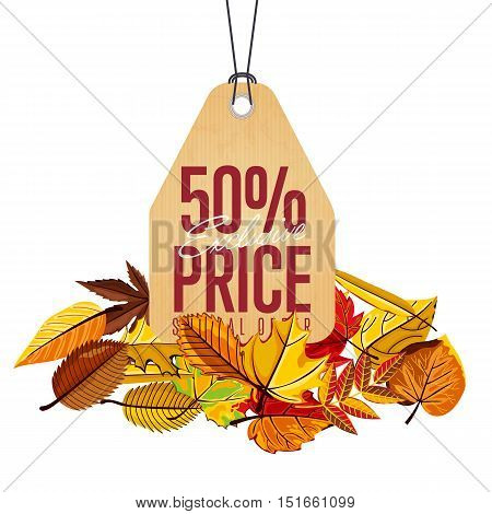 Autumn seasonal sale badge, vector illustration. Exclusive price, special offer label in vintage style on white background with colorful autumn leaves. Retro design promotional badge