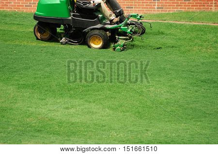 manual worker mowing the lawn outdoor for design