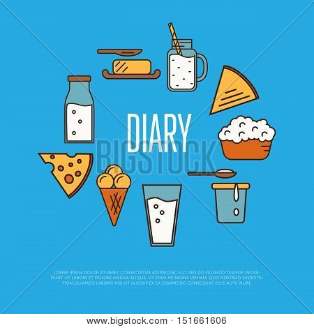 Dairy banner with milk products composition isolated on blue background, vector illustration. Healthy nutritious concept with butter, ice cream, milk, yoghurt, cheese, kefir. Organic farmers food.