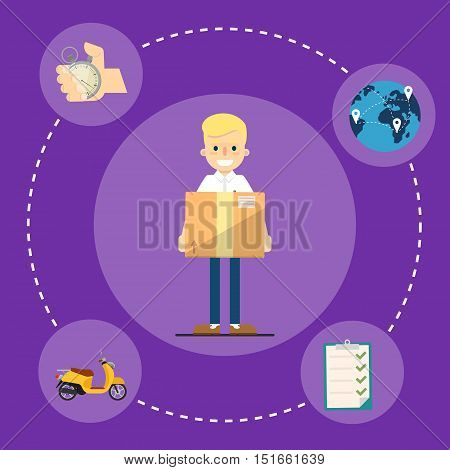 Smiling delivery boy with cardboard box isolated on perpl background. Fast delivery banner, vector illustration. Professional courier service. Shipping and moving.