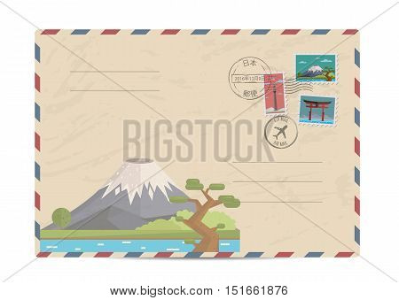 Japan vintage postal envelope with postage stamps and postmark vector illustration. Mount Fuji. Fujiyama. Japanese air mail stamp. Japanese postal services. Envelope delivery. Travel on Japan concept. Explore Japan. Greetings from Japan concept