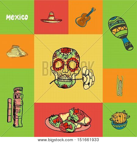 Mexico checkered concept in national colors. Decorated human skull, cactus, corn, maracas, guitar, sombrero, pyramid, mayas monument hand drawn vector icons. Country related doodle symbols and text. Mexico country concept for travel company ad. Mexican tr