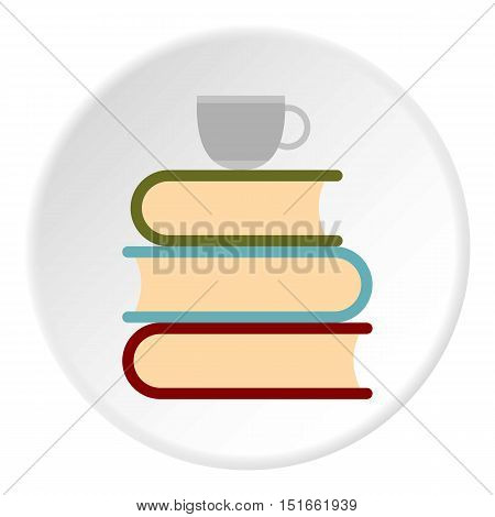 Books and cup of tea icon. Flat illustration of books and cup of tea vector icon for web