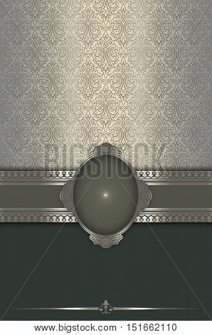 Ornate background with decorative border and old-fashioned patterns.