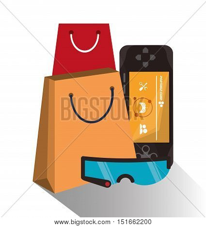 Bag videogame and glasses icon. Payment shopping commerce and merket theme. Colorful design. Vector illustration