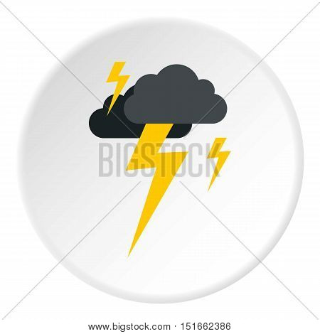 Clouds and lightning icon. Flat illustration of clouds and lightning vector icon for web
