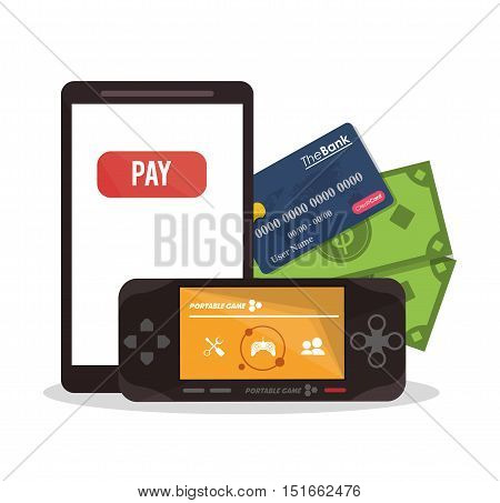 Smartphone videogame and credit card icon. Payment shopping commerce and merket theme. Colorful design. Vector illustration