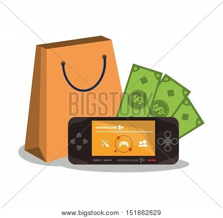 Videogame bill and bag icon. Payment shopping commerce and merket theme. Colorful design. Vector illustration