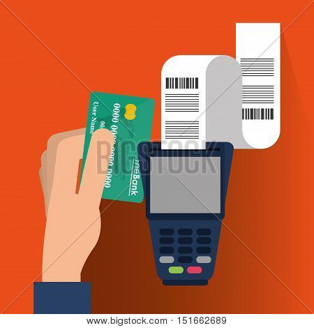 Dataphone and credit card icon. Payment shopping commerce and merket theme. Colorful design. Vector illustration