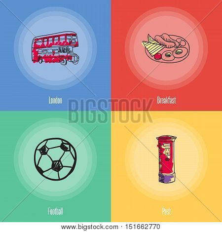 British cultural, sports, culinary, transport symbols. Breakfast, double-decker bus, post, football doodle vector icons with caption on colored backgrounds. Country concept for travel company ad. England vector art. England travel symbols.