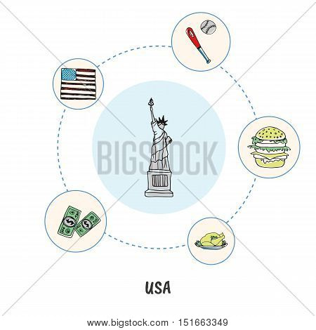 Attractive USA. Statue of Liberty colored doodle surrounded turkey, hamburger, baseball, flag, dollars hand drawn vector icons. American cultural, political, sports, culinary symbols. Travel in U.S.
