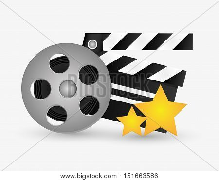 Film reel and clapboard icon. Cinema movie video film and entertainment theme. Colorful design. Vector illustration