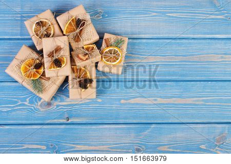 Wrapped Gifts For Christmas Or Other Celebration, Copy Space For Text On Boards
