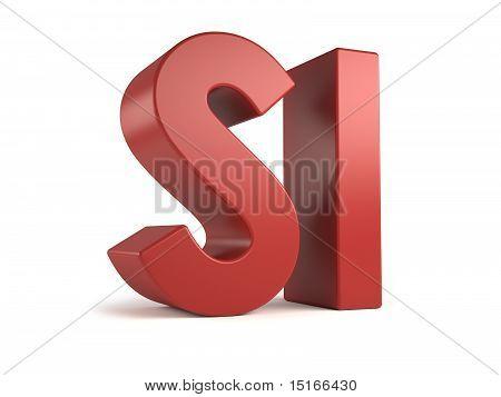 big 3d text - si