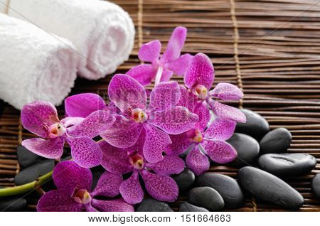 Spa setting with pink orchid ,towel, stones with mat texture