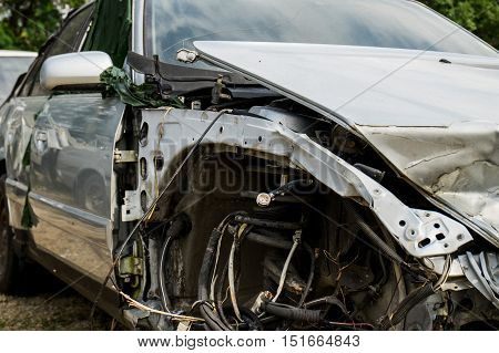 photo of a car destroyed in an accident