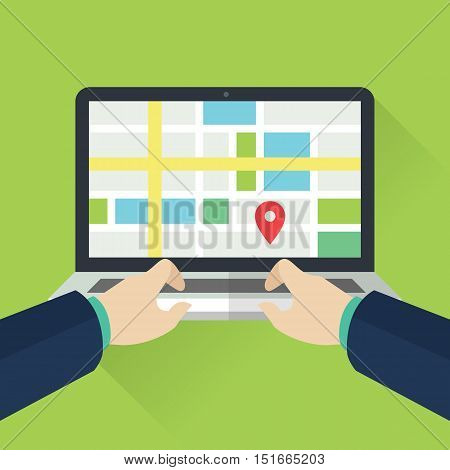 People Monitoring location on laptop. Mapping Technology