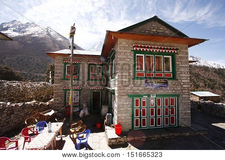 KHUMBU, EVEREST REGION - MARCH 31,2014: Traditional teahouse in Pangboche village on the way to Everest base camp
