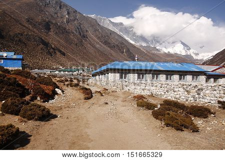 KHUMBU, EVEREST REGION - MARCH 31, 2014: Traditional teahouse in Dingboche village on the way to Everest base camp