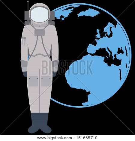 The space suit on the background of the Earth. The illustration on a black background.