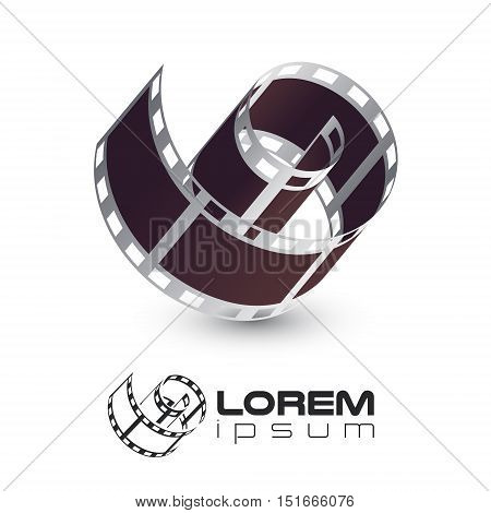film strip with film strip emblem logo template