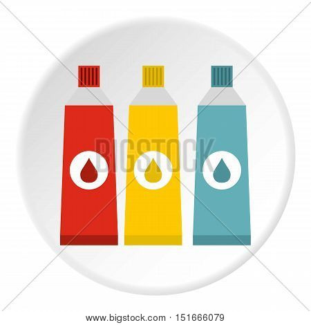 Three color paint in tube icon. Flat illustration of three color paint in tube vector icon for web