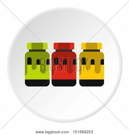 Three color gouache in jar icon. Flat illustration of three color gouache in jar vector icon for web