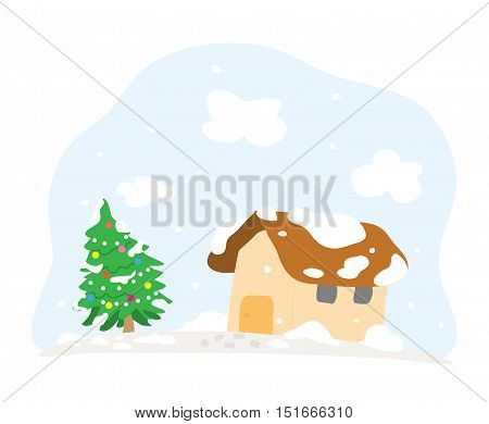 Snowy Christmas Day, a hand drawn vector cartoon illustration of a house and a Christmas tree in a snowy day.
