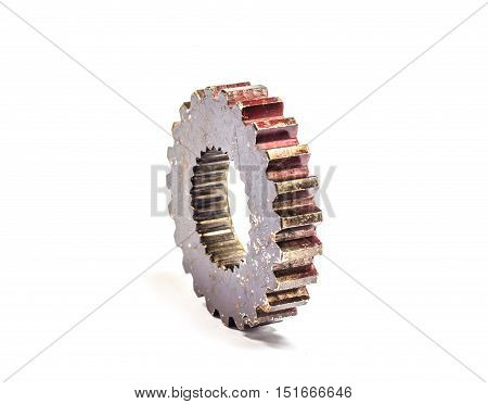 metal cog gears old isolated on white back ground
