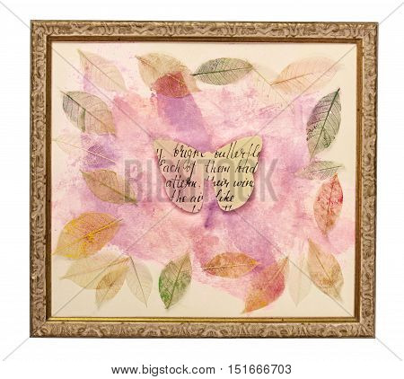 Photo of a frame with an abstract pink painting, with skeleton leaves scattered around it, with a paper butterfly in the centre. The concept of delicate nature. Isolated on white