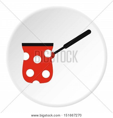 Turk red with white polka dots icon. Flat illustration of turk red with white polka dots vector icon for web