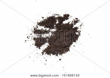 a pile of soil in a white background
