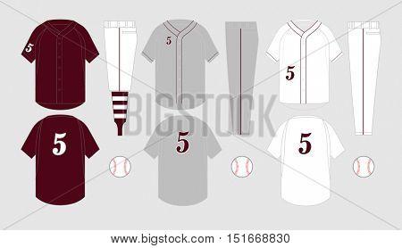 Baseball jersey vector templates various uniform styles