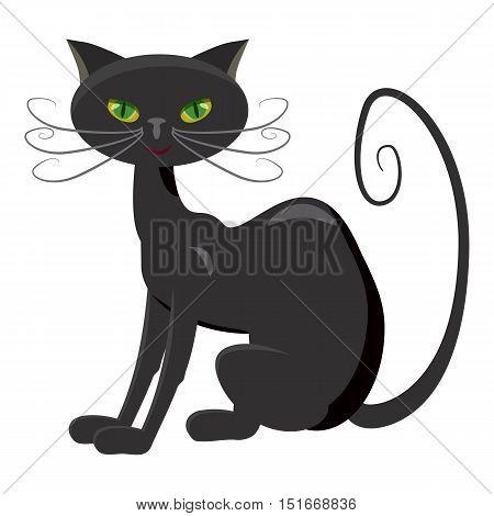 Black cat icon. Cartoon illustration of black cat vector icon for web