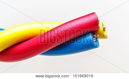 Electric cable. Colorful bundle of electric or electronic cables. close up