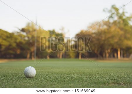 Vintage tone of Golf ball on the green