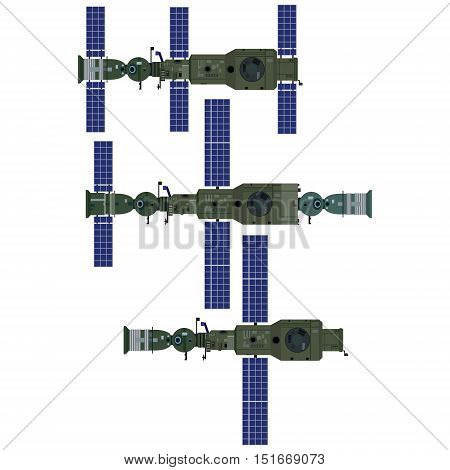 Space orbital station of the USSR. The illustration on a white background.