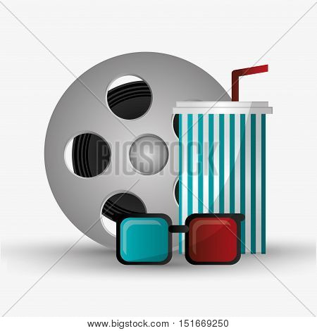 Film reel 3d glasses and soda icon. Cinema movie video film and entertainment theme. Colorful design. Vector illustration