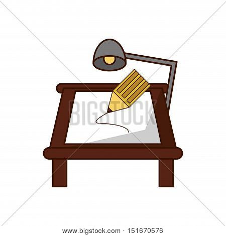 Lamp table and paper object icon. School supply tool instrument and education theme. Isolated design. Vector illustration