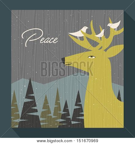 retro christmas greeting card winter scene with deer and birds perched on his antlers