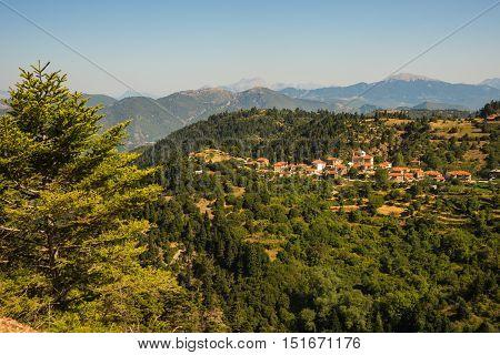 Cityview At Mountain Village Of Fidakia, Evritania, Greece