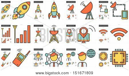 Technology vector line icon set isolated on white background. Technology line icon set for infographic, website or app. Scalable icon designed on a grid system.