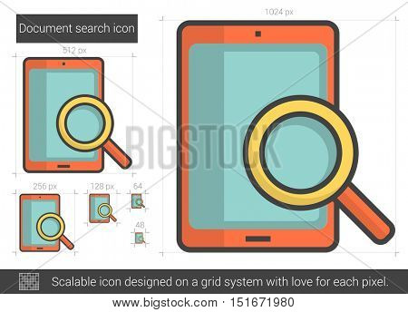 Document search vector line icon isolated on white background. Document search line icon for infographic, website or app. Scalable icon designed on a grid system.
