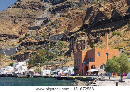Ammoudi harbor of Thira Santorini Greece summer